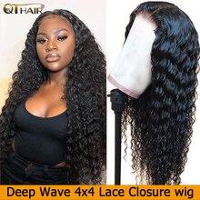 Pelucas de cabello humano con cierre de encaje Deep Wave 4x4 para mujeres, línea de pelo pre desplumado con pelo de bebé, pelo Remy brasileño, nudos blanqueados