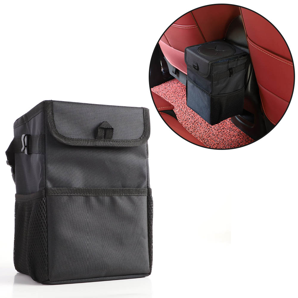 Portable Car Trash Bag Garbage Can Car Dust Seat Back Storage Rubbish Bin Box Case With Lid And Storage Pockets Holder Organizer