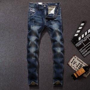 Italian Style Fashion Men Jeans Black Blue Color Slim Fit Ripped Jeans Men Classical Denim Pants Slim Fit Vintage Designer Jeans
