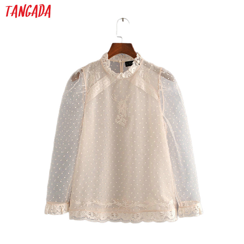 Tangada Women Embroidery Transparent Shirt Lace Patchwork Vintage Long Sleeve Blouse Female Chic Tops 3H502