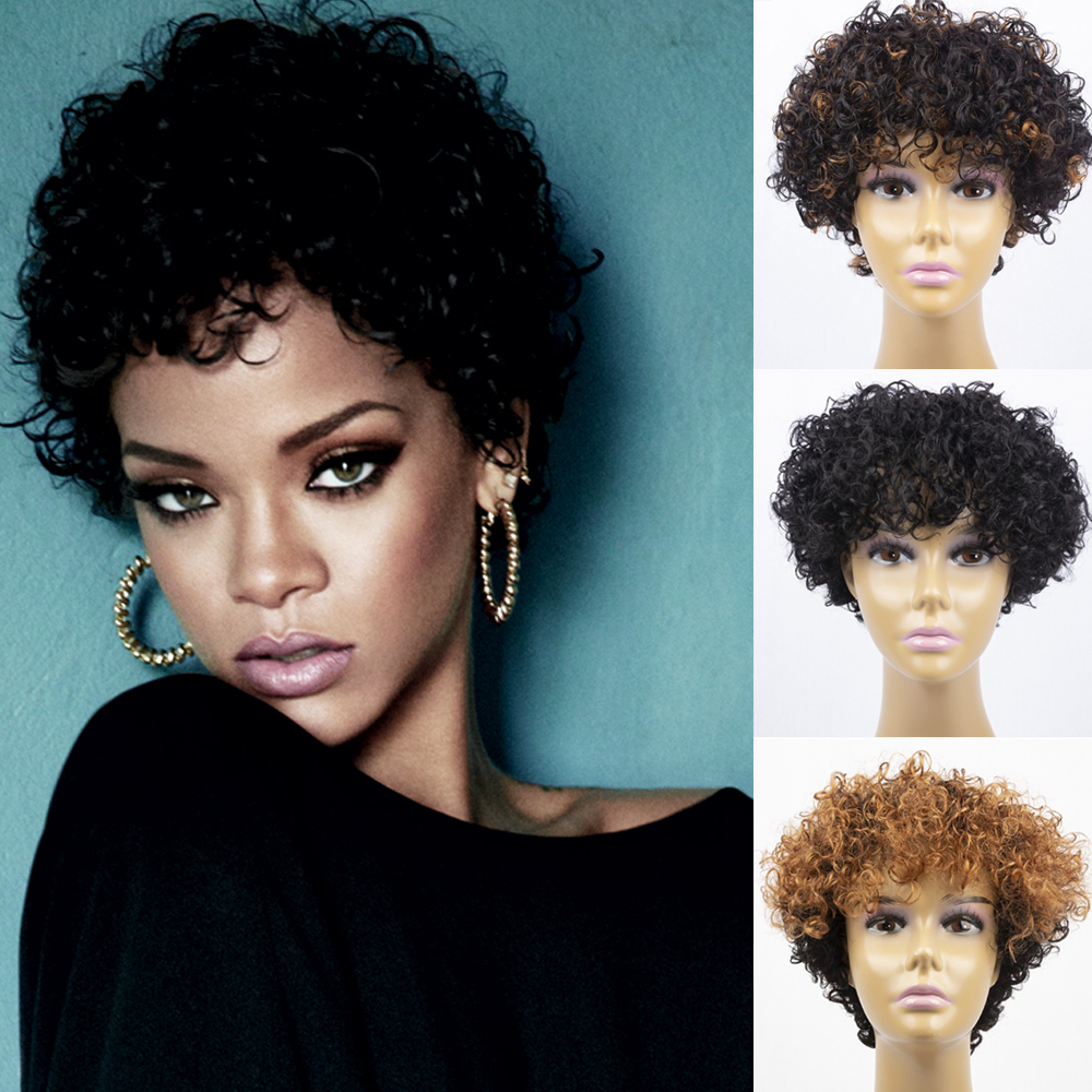150% Density Natural Human Hair Wigs Pixie Cut Afro Kinky Curly Human Hair Wigs Short Bob Blunt Cut Afro Best For Black Women