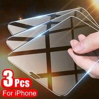 Protector de pantalla de cristal duro 9H para iPhone, Protector de pantalla para iPhone 11 Pro, X, XR, XS Max, 12, 7, 8, 6, 6s Plus, 5, 5s, SE, 3 uds.