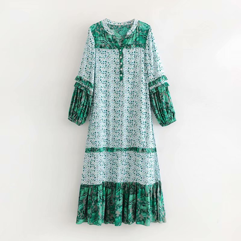 2018 Summer New Style Ozhouzhan WOMEN'S Dress Green Leaves Flower Positioning Maxi Dress Long-sleeved Dress