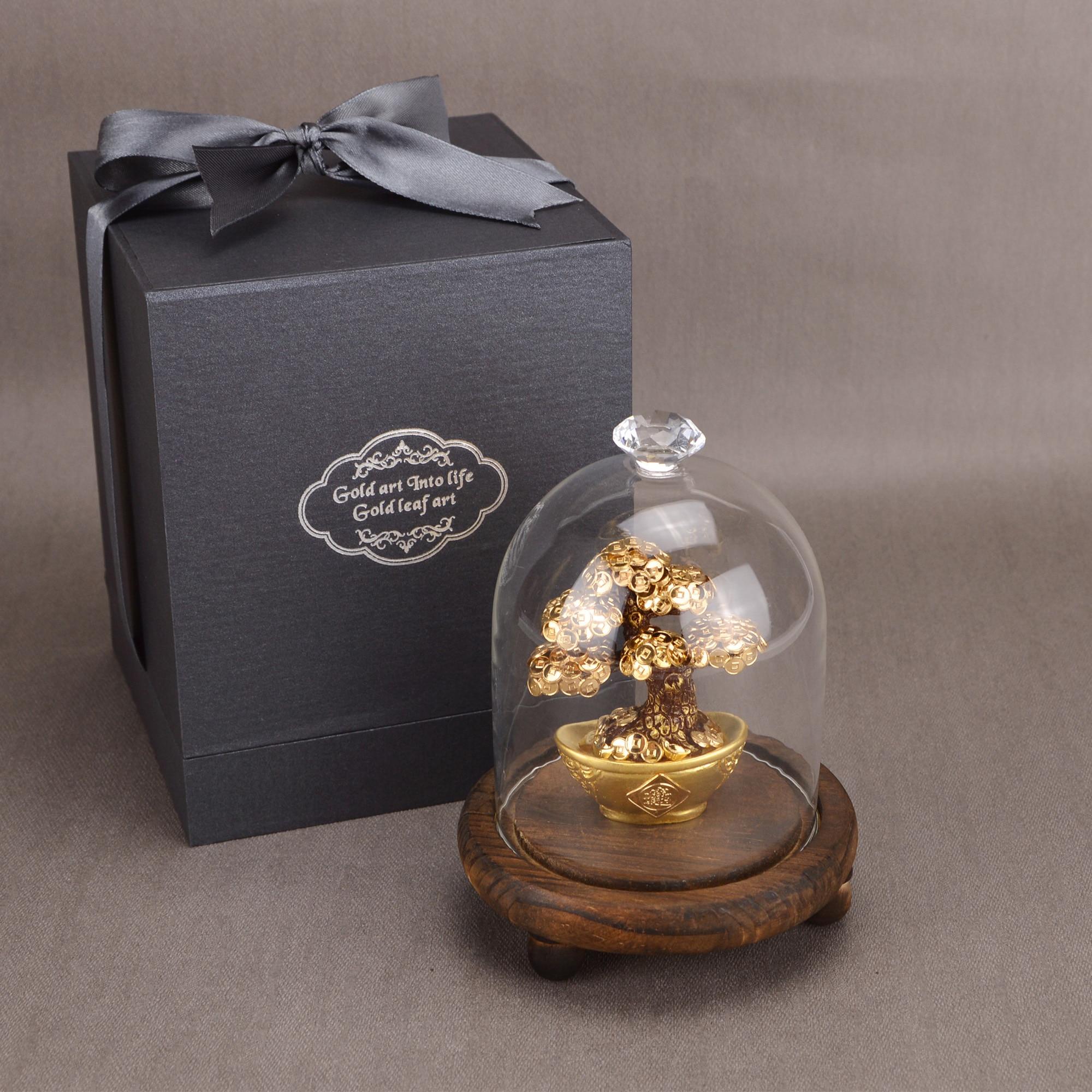 Feng Shui Fortune arbre feuille d'or argent arbre bonsaï bureau table chanceux richesse ornements cadeaux décoration de la maison avec boîte de cadeaux - 4