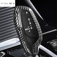 Car Styling gałka zmiany biegów z włókna węglowego sport dźwignia ręczna dla BMW serii 5 7 G30 G38 G11 G12 X3 G01 X4 G02 akcesoria samochodowe w Naklejki samochodowe od Samochody i motocykle na