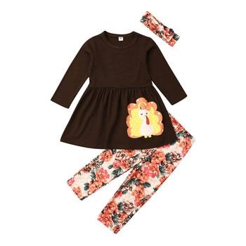 1-6 años bonitos bebés niñas Acción de Gracias Turquía trajes Casual imprimir camisetas tops + Pantalones leggings dos- pieza de ropa de otoño