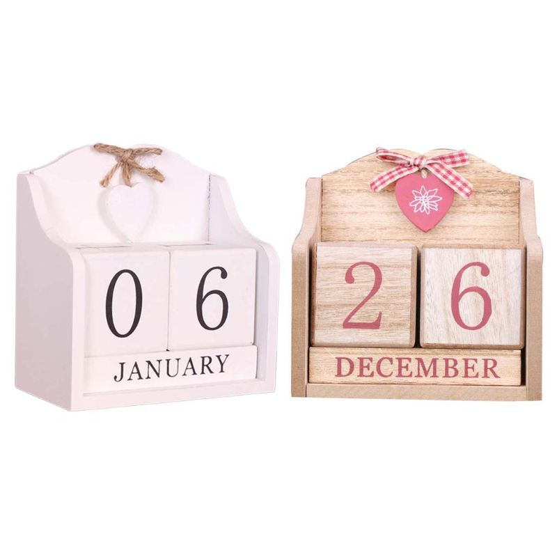 Vintage Wooden Perpetual Calendar Month Date Display Eternal Blocks Photography Props Desktop Accessories Home Office Decoration