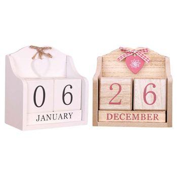 Vintage Wooden Perpetual Calendar Month Date Display Eternal Blocks Photography Props Desktop Accessories Home Office Decoration цена 2017