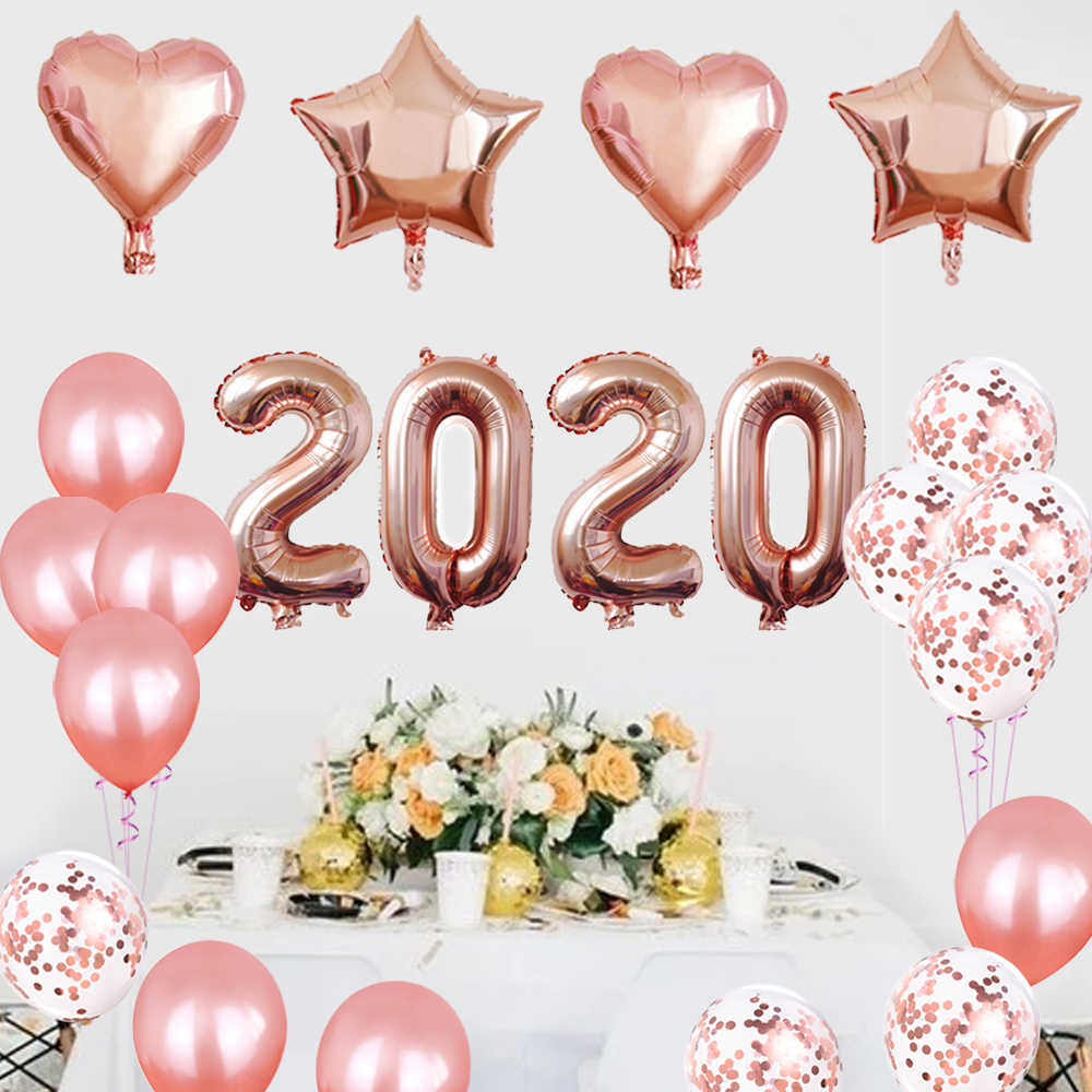 2020 Happy New Year Number 16 Inch Foil Balloons Eve Party Decor Merry Christmas