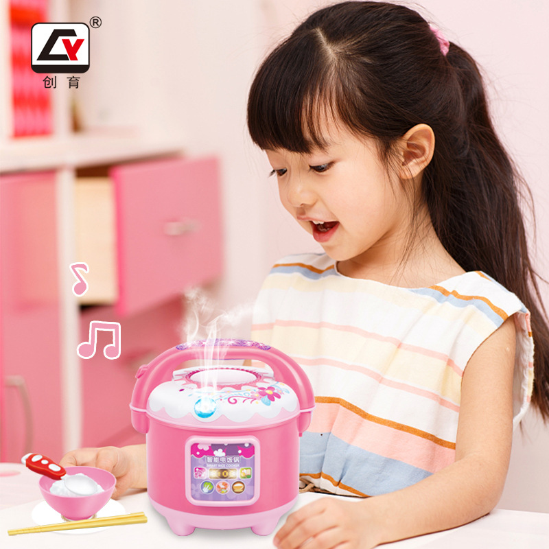 Children Play House Model Kitchen Toy Mini Rice Cooker Small Appliances Will Spray Smoke Rice Cooker Factory