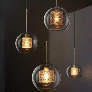 Luces colgantes nórdicas modernas altillo lámpara colgante de bola de cristal Led comedor decoración Industrial accesorios de cocina luminaria de suspensión