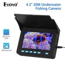 Eyoyo портативный 4,3 ТВЛ дюймов рыболокатор подводная камера для ночной рыбалки визуальный детектор рыбы 8 шт. ИК светодиодный камера для подледной рыбалки