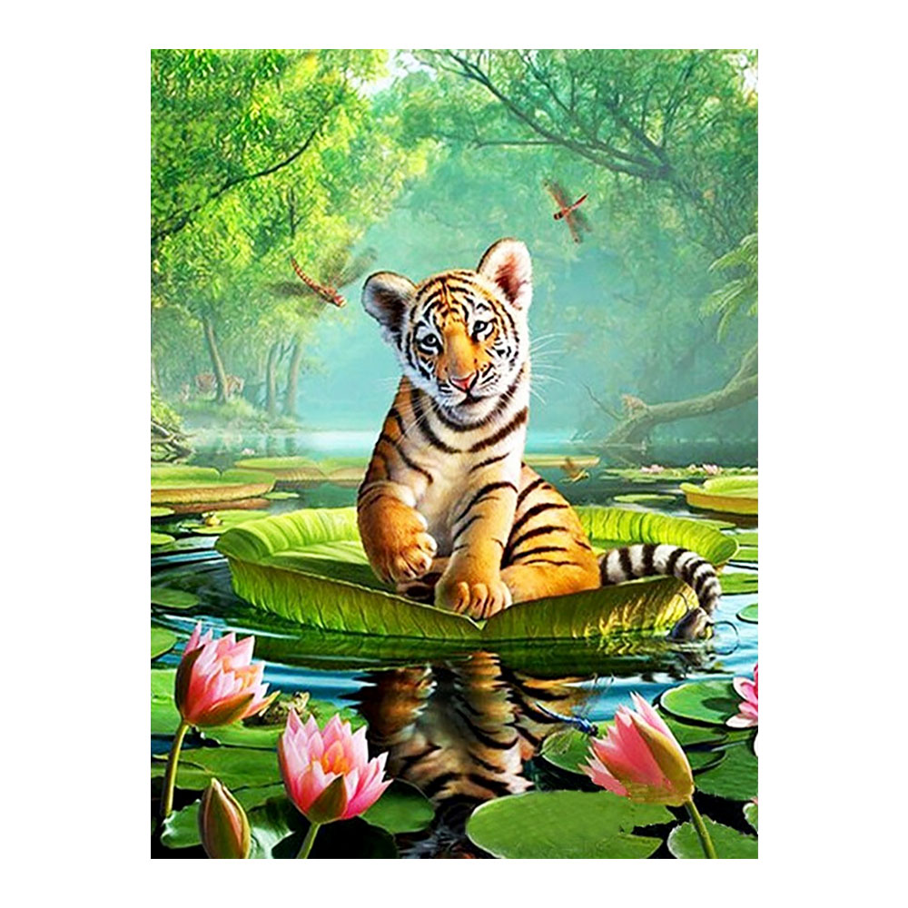 animal tiger Moge Diamond Painting Full Round forest scenic New DIY Toy sticking drill cross stitch 5D embroidery decorative