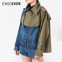CHICEVER Hit Color Denim Patchwork Jacket Coat Women Lapel Collar Loose Asymmetrical Clothes Coats Female Fashion New Autumn