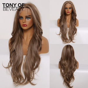 Long Wavy Brown Highlights Lace Front Synthetic Wigs with Baby Hair Lace Wigs for Women High Density Daily Heat Resistant Wigs