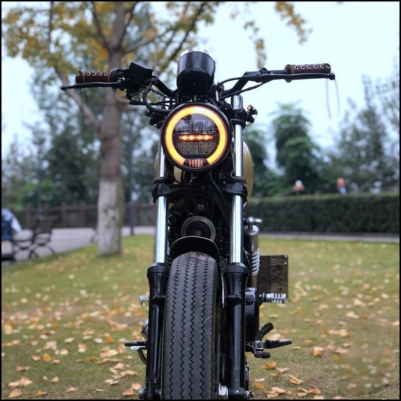 6.5 Inch Universal Cafe Racer Vintage Motorcycle LED Head Lamp Headlamp Distance Light Refit Motorcycle Headlight Cafe Racer