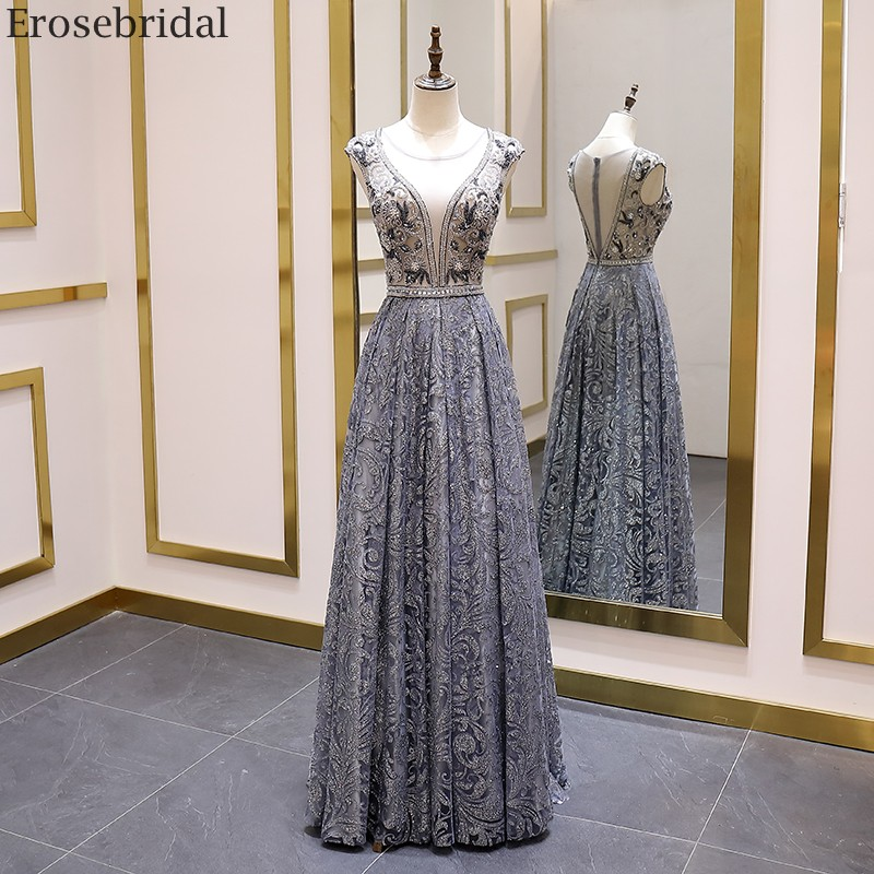 Erosebridal Luxury Beads Evening Dress Long See Through Body A Line Prom Dress 2020 Small Train Unique Neck Design Zipper BackEvening Dresses   -