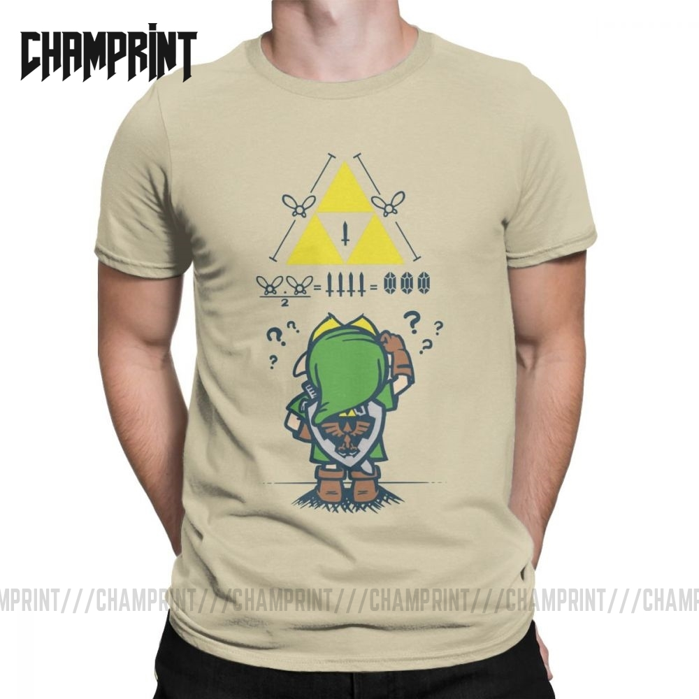 Men The Legend Of Zelda A Link To The Math T Shirts Game 100% Cotton Clothes <font><b>Cool</b></font> <font><b>Short</b></font> Sleeve Tees New Arrival T-Shirts image