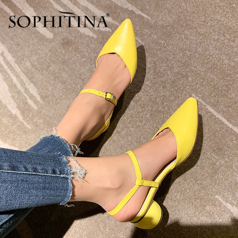 SOPHITINA Fashion Women Sandals Pointed Toe Buckle Strap High Quality Cow Leather Elegant Shoes Comfortable Solid Sandals SO427
