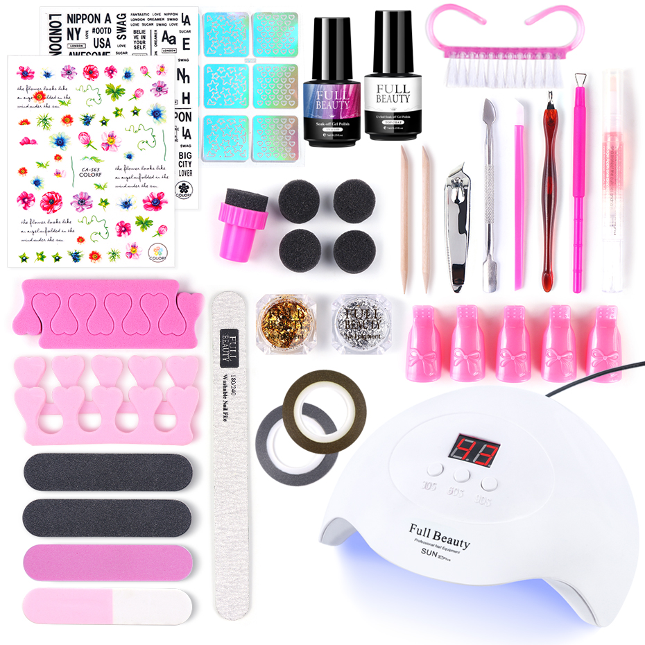 Manicure Set With UV Lamp Super Nail Art Kit 60 Colors Cat Eye Gel Varnish+Glitter Sticker Decor Pro Nail Files Tools Set BE1574