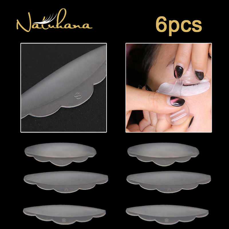NATUHANA 6pcs Eyelash Lifting Silicone Pads Set Eye Lash Extension Lift Perming Kit Tool Eyelash Lift Curlers Curl Shields Pads