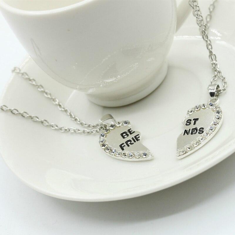 Unisex 2 Pcs BFF Necklace Women Crystal Heart Pendant Best Friend Letter Necklace Fashion Couple Necklace Men Friendship Jewelry 5
