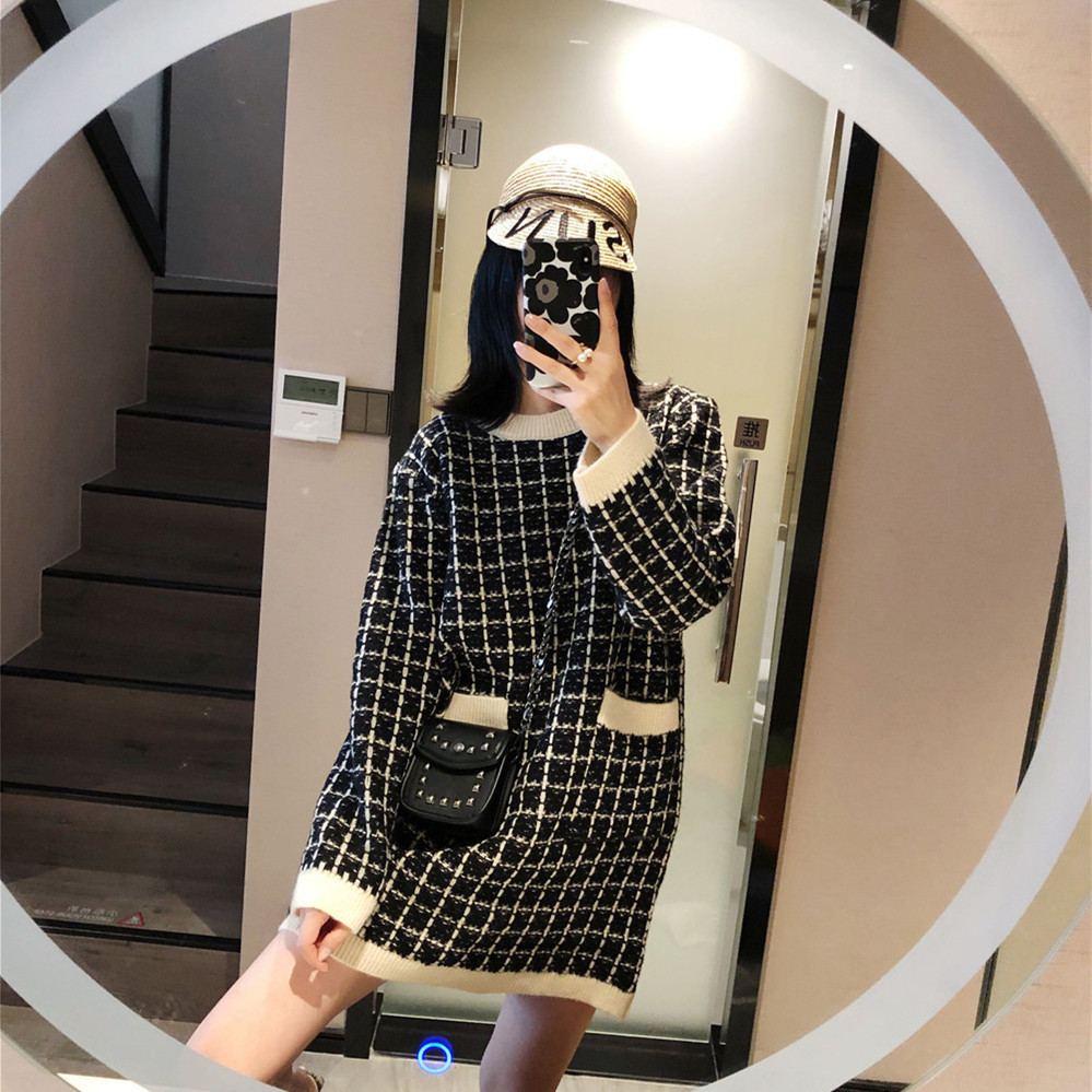 Designer de luxe femmes mode Plaid Jacquard poches à manches longues col rond vacances décontracté tricot pull Mini robe robes S-L - 2