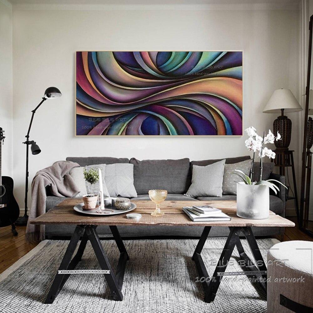 Pop mur œuvre peint à la main couleurs riches abstrait violet peinture à l'huile sur toile Design Unique abstrait géométrique peinture à l'huile - 5