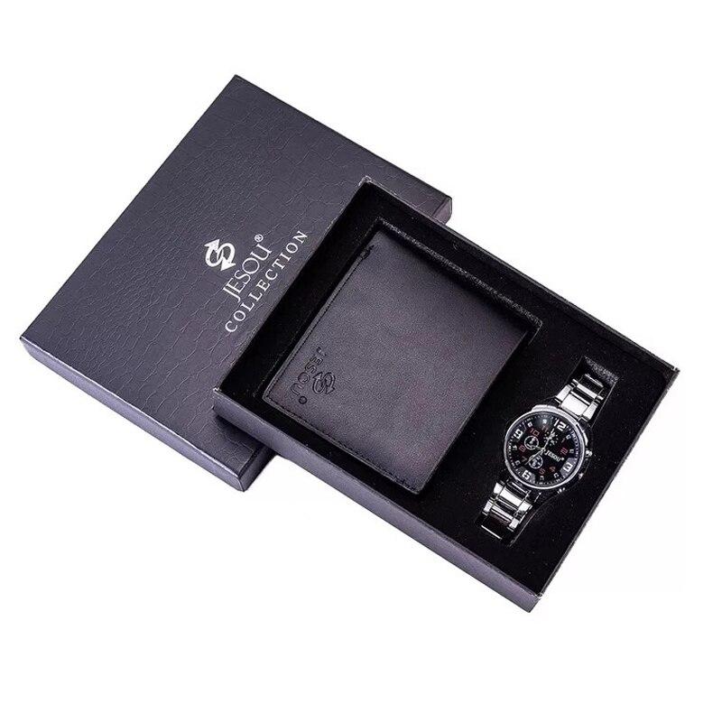 Мужские часы со стальным ремешком, кварцевые наручные часы, складные часы с кожаным кошельком, подарочные наборы для мужчин, подарки на