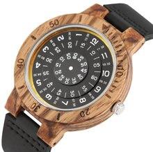Часы наручные мужские с браслетом из бамбука черные