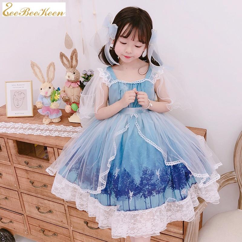 Girls Kawaii Loli costume Summer Short-sleeved Lolita Dress Birthday Gift Costume Lolita Princess dress for children sweet dress