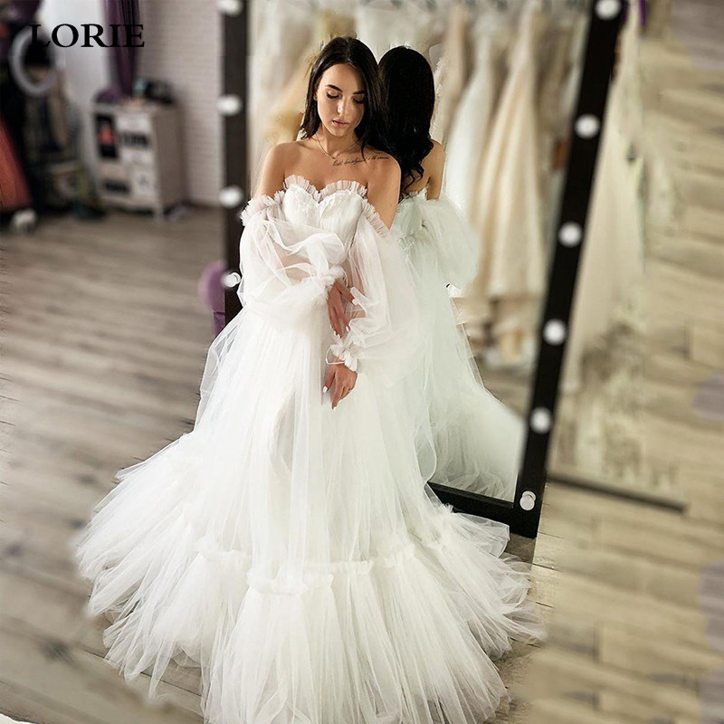 LORIE Boho Wedding Dress A-Line Appliques Puff Sleeves Bride Dress Vestido De Voiva Lace Wedding Gown Custom Made