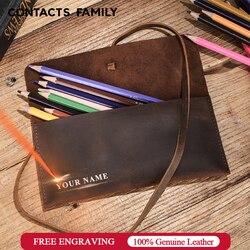 Кожаные чехлы-карандаши в ретро-стиле, кожаная сумка для ручек, сумка для студентов, сумки-карандаши для офиса, школьные принадлежности, кан...