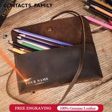 Estuches de cuero Retro para lápices, bolsa de cuero con textura, estuches de lápices para estudiantes, material escolar de oficina, papelería escolar