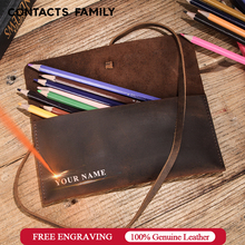 Retro Leather Roll Pencil Cases Leather Pen Bag Pouch Texture Student Pencil Bags Office School Supplies Stationery escolar