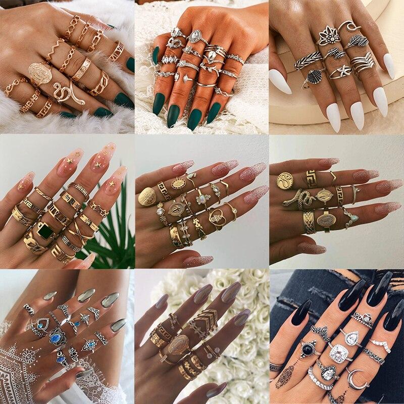 2020 Bohemian Vrouwen Mode Ringen Hearts Star Snake Geometrie Crystal Joint Gouden Ring Set Persoonlijkheid Lady Bruiloft Sieraden|Ringen|   - AliExpress