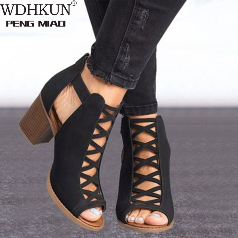 2020 Women Square Heel Sandals Peep Toe Hollow Out Chunky Gladiator Sandals With Strap Black Spring Summer Shoes HVT791