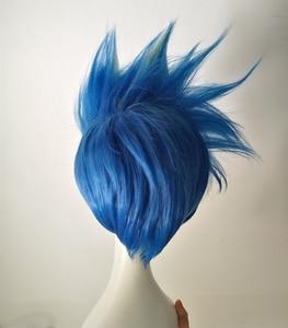 Image 2 - Galo Thymos peruka PROMARE Burning Rescue peruka do cosplay krótki prosto niebieski żaroodporne włosy syntetyczne Anime peruki + czapka z peruką
