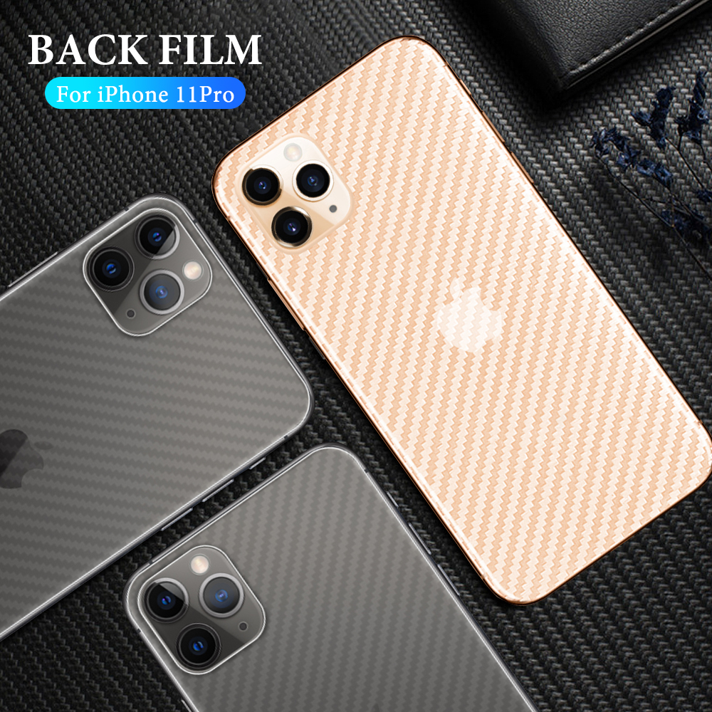 Anti-fingerprint Carbon Fiber Back Film For IPhone 11 Pro X XS MAX XR Protective Film For IPhone 8 7 Plus 6 6s Phone Protector