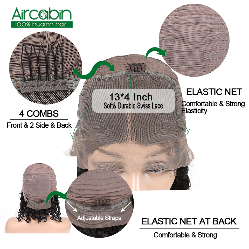 Curly Lace Front Wig Short Bob Wigs Curly Bob Wig Natural Hair 13X4 Brazilian Non Remy Short Human Hair Wigs For Black Women in Human Hair Lace Wigs from Hair Extensions Wigs
