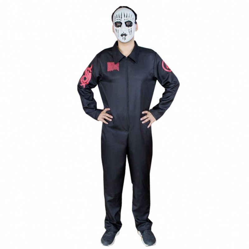 New Arrival Christmas Cosplay Scary Moive Costume Halloween Shipknot band Jumpsuit Role Play Carnival Party Dress for Adult Man image