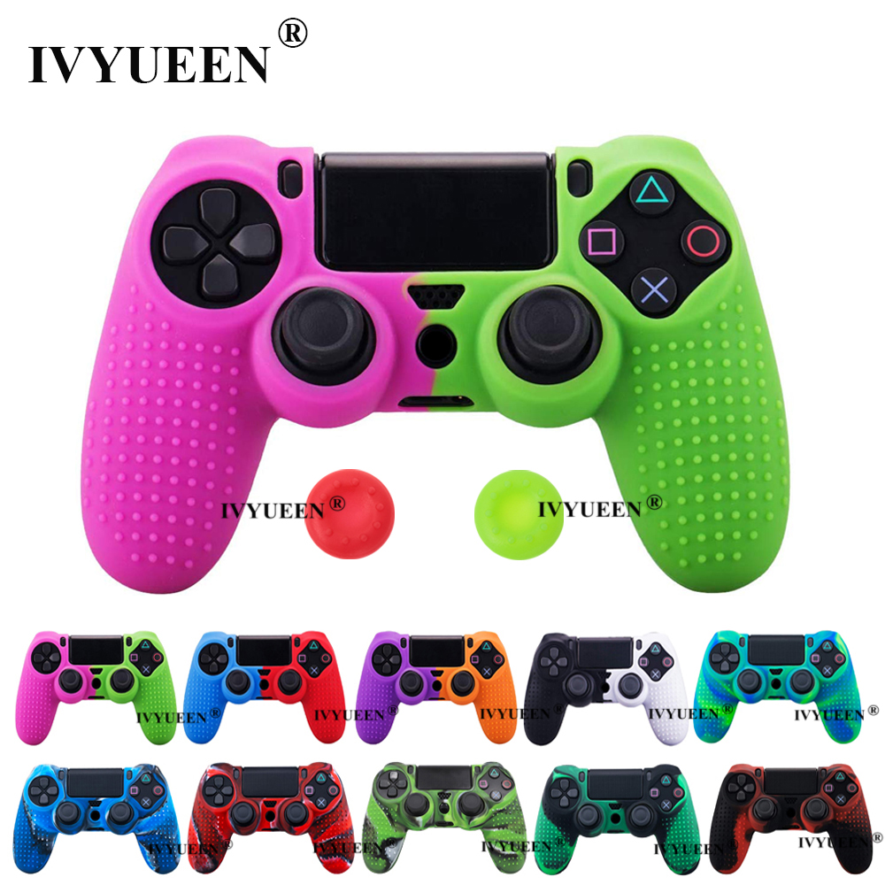 IVYUEEN Silicone Cover Skin For Dualshock 4 PS4 Pro Slim Controller Case And Thumb Grips Caps For PlayStation 4 Game Accessories