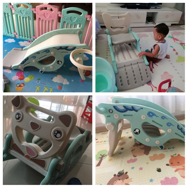 Bébé brillant 4 en 1 glisse cheval à bascule pour enfants bébé jouets multifonction cadeau d'anniversaire penser plastique Non toxique sans odeur - 6