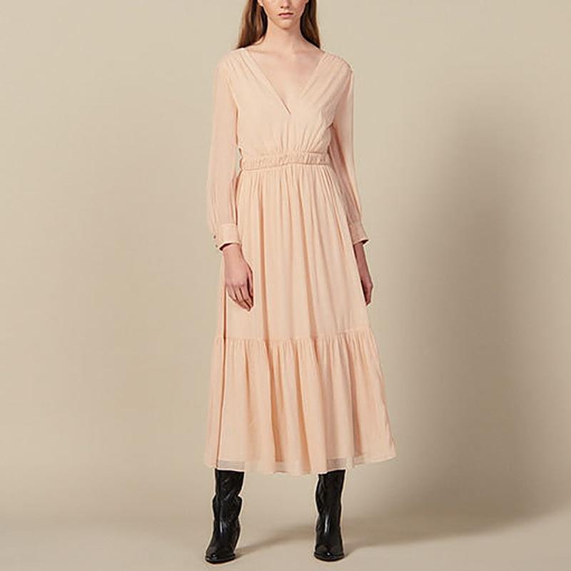 Automne 2019 piste Designer femmes longue robe élégante de haute qualité Sexy col en V Maxi robe Vintage à manches longues taille haute robe