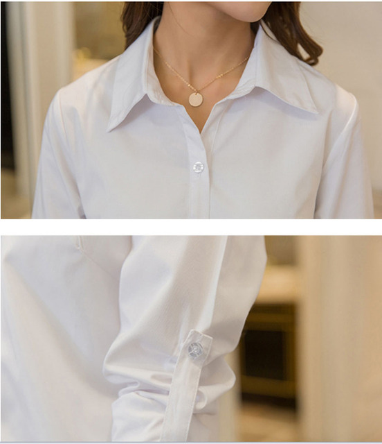 Casual Loose Women Shirts Collar Plus Size Blouse Long Sleeve Buttons White Shirt Women Tops Streetwear 5