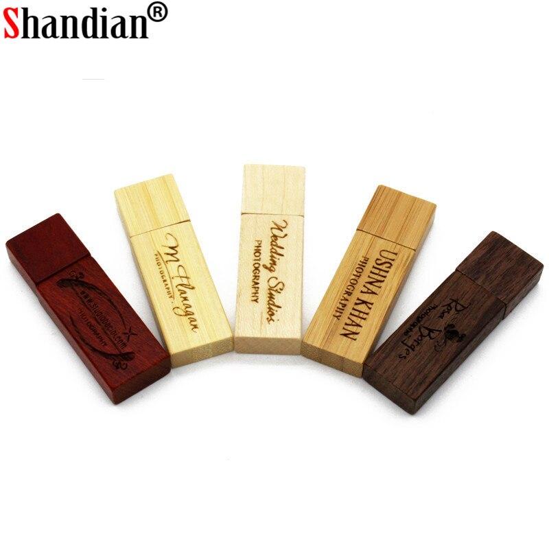 SHANDIAN freecustom logo wooden Usb Flash drive customer LOGO pendrive 4GB 8GB 16GB 32GB 64GB U disk Memory Stick