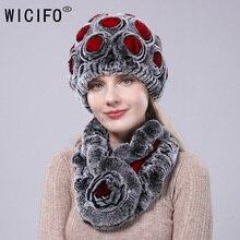 2019 novo coelho rex malha chapéu de inverno cachecol de pele conjunto feminino flowervoice algodão beanies e anel cachecol feminino inverno accessorie