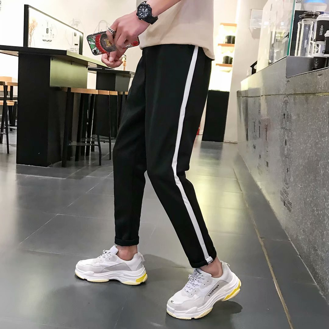 INS Super Fire Pants Men's Korean-style Trend Summer Versatile Students Casual Capri Pants Loose-Fit Couples Athletic Pants