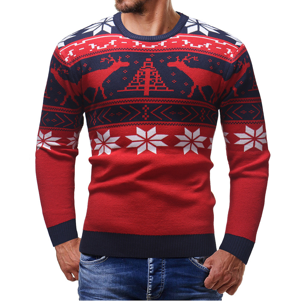 Christmas Style Winter Men Sweater Men Sweater Pull Homme Hombre Knitted O-Neck Deer Printed Pullover Erkek Kazak Roupas Clothes