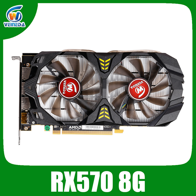 Veineda וידאו כרטיס Radeon RX 570 8GB 256Bit GDDR5 1244/6000MHz כרטיס מסך מחשב משחקים עבור nVIDIA geforce משחקים rx 570 8gb